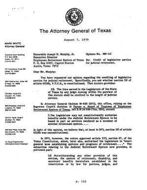 Primary view of object titled 'Texas Attorney General Opinion: MW-40'.