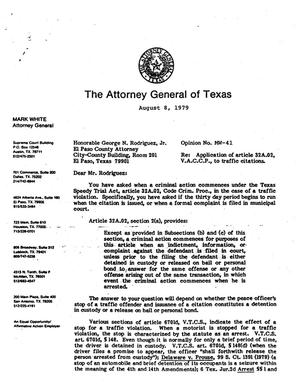 Texas Attorney General Opinion: MW-41