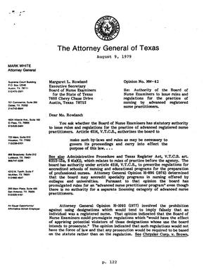 Texas Attorney General Opinion: MW-42