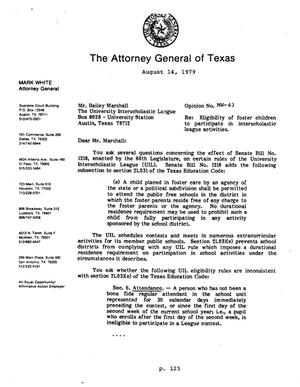 Primary view of object titled 'Texas Attorney General Opinion: MW-43'.