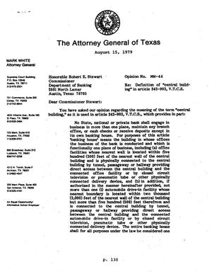 Texas Attorney General Opinion: MW-44