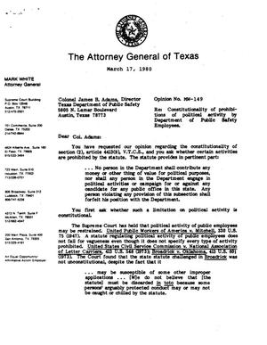 Primary view of object titled 'Texas Attorney General Opinion: MW-149'.