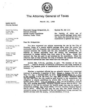 Primary view of object titled 'Texas Attorney General Opinion: MW-155'.