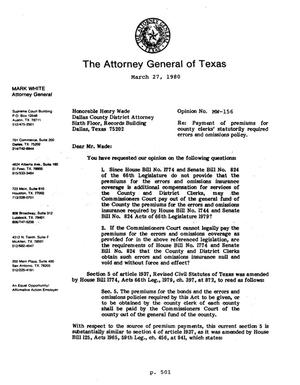 Primary view of object titled 'Texas Attorney General Opinion: MW-156'.