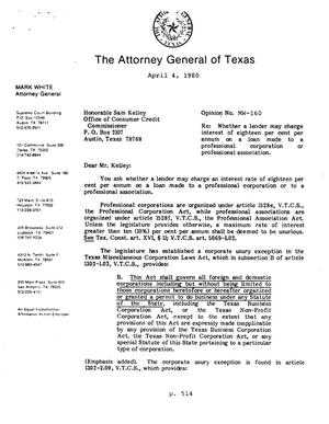Primary view of object titled 'Texas Attorney General Opinion: MW-160'.