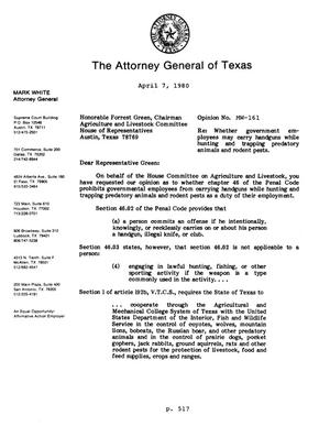 Primary view of object titled 'Texas Attorney General Opinion: MW-161'.