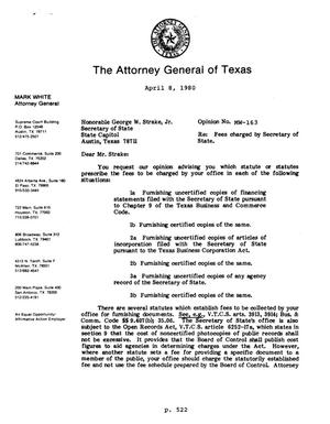Primary view of object titled 'Texas Attorney General Opinion: MW-163'.