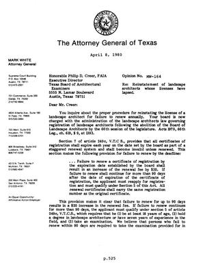 Primary view of object titled 'Texas Attorney General Opinion: MW-164'.