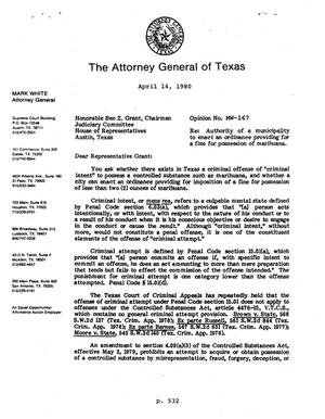 Primary view of object titled 'Texas Attorney General Opinion: MW-167'.