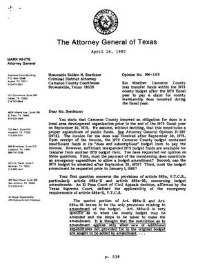 Primary view of object titled 'Texas Attorney General Opinion: MW-169'.