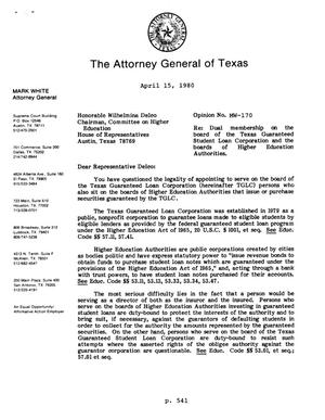 Primary view of object titled 'Texas Attorney General Opinion: MW-170'.