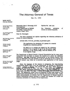 Primary view of object titled 'Texas Attorney General Opinion: MW-180'.
