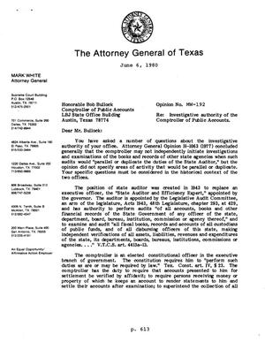 Primary view of object titled 'Texas Attorney General Opinion: MW-192'.