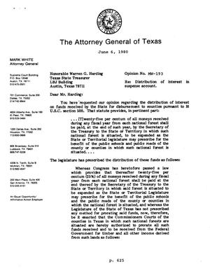Primary view of object titled 'Texas Attorney General Opinion: MW-193'.