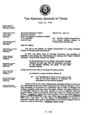 Primary view of object titled 'Texas Attorney General Opinion: MW-197'.