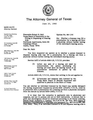 Primary view of object titled 'Texas Attorney General Opinion: MW-198'.