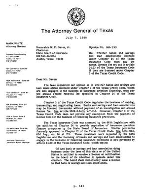 Primary view of object titled 'Texas Attorney General Opinion: MW-199'.