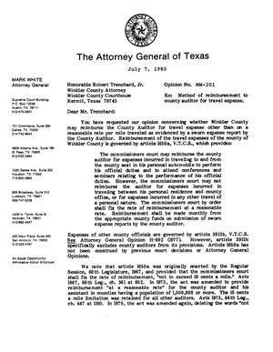 Primary view of Texas Attorney General Opinion: MW-201
