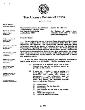 Primary view of object titled 'Texas Attorney General Opinion: MW-202'.