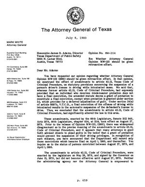 Primary view of object titled 'Texas Attorney General Opinion: MW-204'.