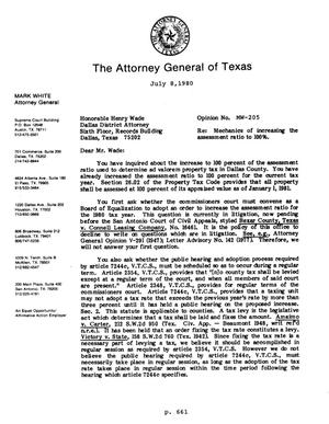 Primary view of object titled 'Texas Attorney General Opinion: MW-205'.