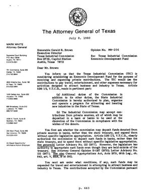 Primary view of object titled 'Texas Attorney General Opinion: MW-206'.