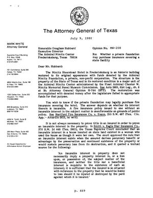 Primary view of object titled 'Texas Attorney General Opinion: MW-208'.