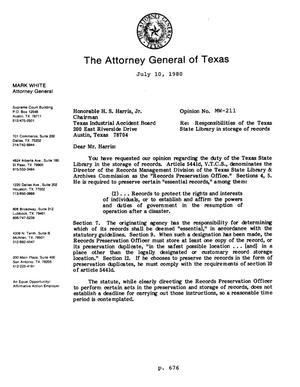 Primary view of object titled 'Texas Attorney General Opinion: MW-211'.