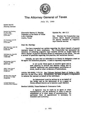 Primary view of object titled 'Texas Attorney General Opinion: MW-213'.