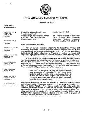 Primary view of object titled 'Texas Attorney General Opinion: MW-215'.