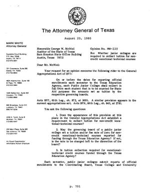 Primary view of object titled 'Texas Attorney General Opinion: MW-220'.