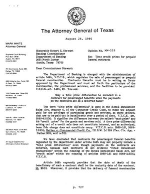 Primary view of object titled 'Texas Attorney General Opinion: MW-229'.