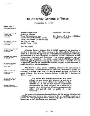 Primary view of object titled 'Texas Attorney General Opinion: MW-233'.