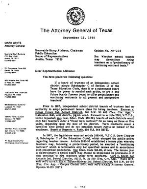 Primary view of object titled 'Texas Attorney General Opinion: MW-238'.