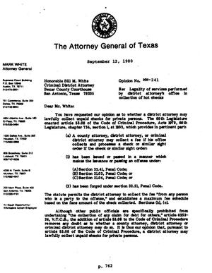 Primary view of object titled 'Texas Attorney General Opinion: MW-241'.