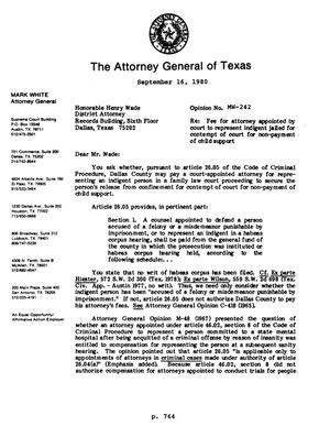 Primary view of object titled 'Texas Attorney General Opinion: MW-242'.