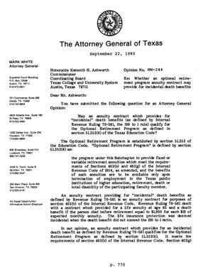 Primary view of object titled 'Texas Attorney General Opinion: MW-244'.