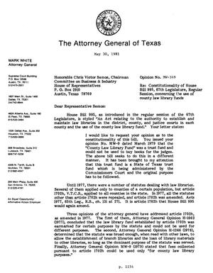 Primary view of object titled 'Texas Attorney General Opinion: MW-349'.