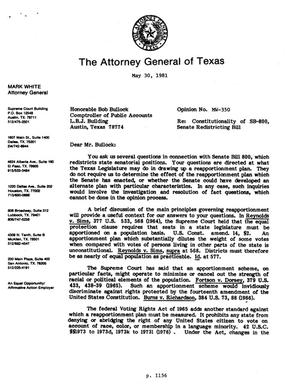 Primary view of object titled 'Texas Attorney General Opinion: MW-350'.