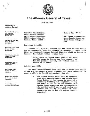 Primary view of object titled 'Texas Attorney General Opinion: MW-357'.