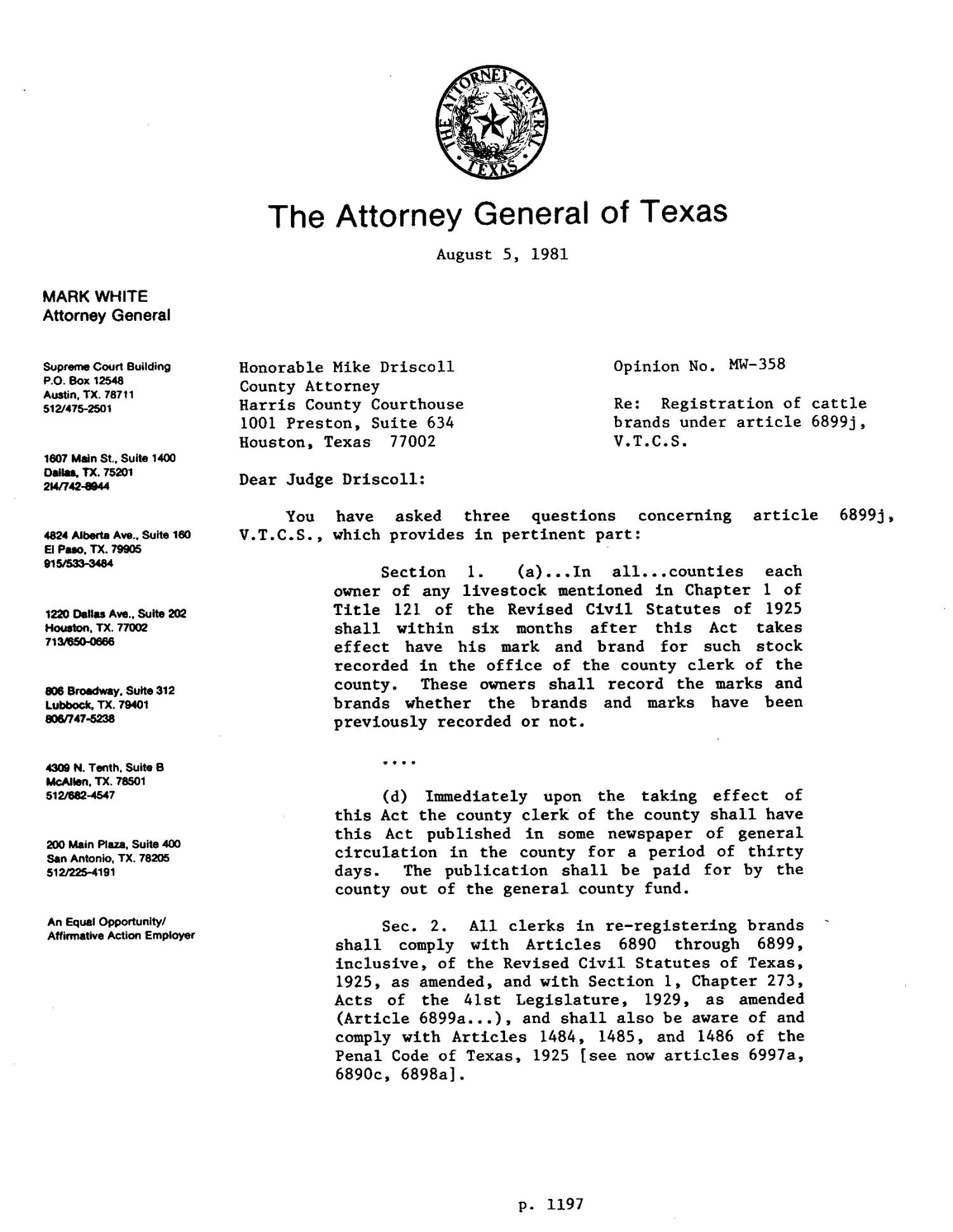 Texas Attorney General Opinion: MW-358                                                                                                      [Sequence #]: 1 of 4