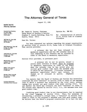 Primary view of object titled 'Texas Attorney General Opinion: MW-361'.