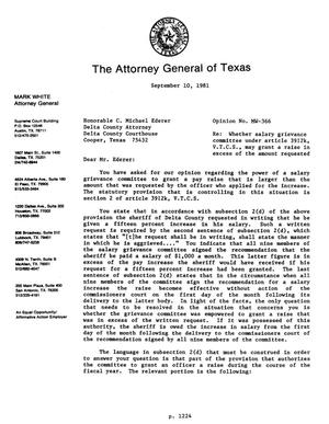 Primary view of object titled 'Texas Attorney General Opinion: MW-366'.