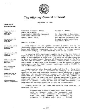 Primary view of object titled 'Texas Attorney General Opinion: MW-367'.