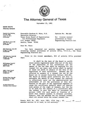 Primary view of object titled 'Texas Attorney General Opinion: MW-368'.