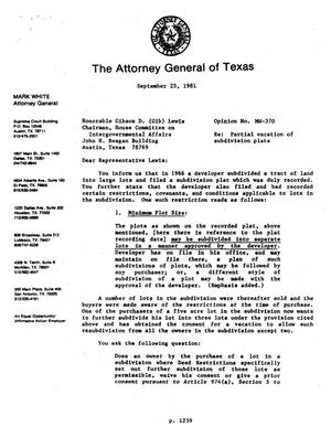 Primary view of object titled 'Texas Attorney General Opinion: MW-370'.