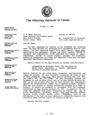 Primary view of object titled 'Texas Attorney General Opinion: MW-372'.
