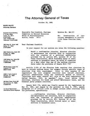 Primary view of object titled 'Texas Attorney General Opinion: MW-377'.