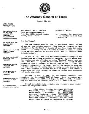 Primary view of object titled 'Texas Attorney General Opinion: MW-378'.