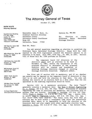Primary view of object titled 'Texas Attorney General Opinion: MW-380'.